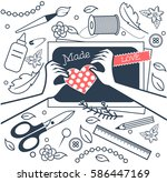 handmade  crafts workshop  art... | Shutterstock .eps vector #586447169