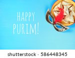 purim celebration concept ... | Shutterstock . vector #586448345