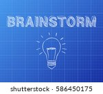 hand drawn brainstorm sign and... | Shutterstock .eps vector #586450175