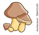 Funny Three Mushrooms With...