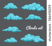 set of blue cute nice cloud... | Shutterstock .eps vector #586458359