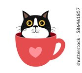 Stock vector kitten in cup vector illustration for t shirt print banner logo 586461857
