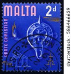 Small photo of SINGAPORE – FEBRUARY 24, 2017: A stamp printed in Malta honoring Proto Christian Era, circa 1965