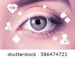 future woman with cyber... | Shutterstock . vector #586474721