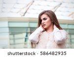 portrait of a beautiful girl in ... | Shutterstock . vector #586482935