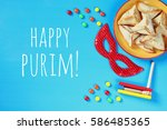 purim celebration concept ... | Shutterstock . vector #586485365