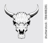 ram skull with big horn vector... | Shutterstock .eps vector #586488281