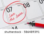 save the date written on a... | Shutterstock . vector #586489391