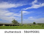 cable stayed bridge under the... | Shutterstock . vector #586490081