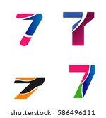 logo number 7 company vector... | Shutterstock .eps vector #586496111