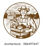 vector farmer with vegetables... | Shutterstock .eps vector #586497647