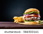 craft beef burger and french... | Shutterstock . vector #586503161