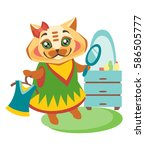 satisfied cat in dress with a... | Shutterstock .eps vector #586505777