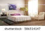 bedroom interior. 3d... | Shutterstock . vector #586514147