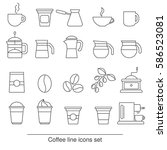 coffee icons set. collection... | Shutterstock .eps vector #586523081