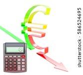 unhappy calculator with euro... | Shutterstock . vector #586524695