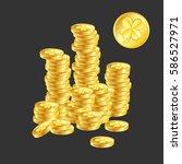 good luck money. a pile of gold ...   Shutterstock .eps vector #586527971