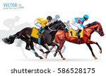 Stock vector four racing horses competing with each other with motion blur to accent speed vector illustration 586528175