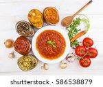 tomato soup up shot on white... | Shutterstock . vector #586538879