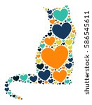 cat shape vector design... | Shutterstock .eps vector #586545611