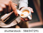 professional barista pouring... | Shutterstock . vector #586547291