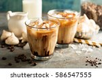 iced coffee with milk ...   Shutterstock . vector #586547555
