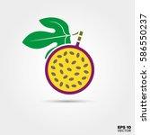 purple maracuia passion fruit... | Shutterstock .eps vector #586550237