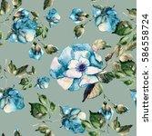 roses seamless pattern.... | Shutterstock . vector #586558724
