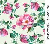 roses seamless pattern.... | Shutterstock . vector #586558751