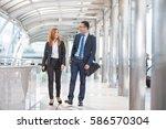 confident business partners... | Shutterstock . vector #586570304