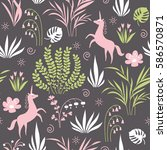 seamless pattern with flowers ... | Shutterstock .eps vector #586570871
