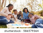 multi generation family... | Shutterstock . vector #586579364