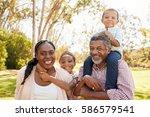 grandparents and grandchildren... | Shutterstock . vector #586579541