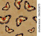vector seamless pattern of... | Shutterstock .eps vector #586581875