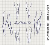 sexual woman legs sketch icons... | Shutterstock .eps vector #586586495