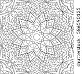 adult coloring book. black and... | Shutterstock .eps vector #586590125