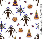 funny seamless pattern with... | Shutterstock .eps vector #586590149