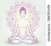 yoga asana padmasana  lotus... | Shutterstock .eps vector #586591454