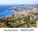 view of funchal  portugal ... | Shutterstock . vector #586591499