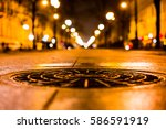 alley in the night city  the... | Shutterstock . vector #586591919