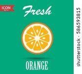 fresh orange . vector ... | Shutterstock .eps vector #586593815