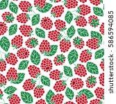 vector raspberry seamless... | Shutterstock .eps vector #586594085