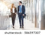 business people walking and... | Shutterstock . vector #586597307