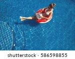 pretty female in swimsuit and... | Shutterstock . vector #586598855