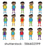 vector collection of cute and... | Shutterstock .eps vector #586602599