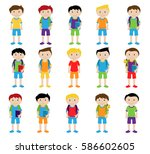 vector collection of cute and... | Shutterstock .eps vector #586602605