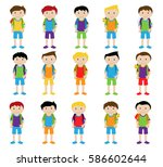 vector collection of cute and... | Shutterstock .eps vector #586602644