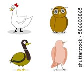 set of birds vector character... | Shutterstock .eps vector #586603865