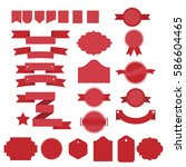 red vector ribbons and lables... | Shutterstock .eps vector #586604465