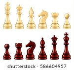 wooden chess pieces set  two... | Shutterstock .eps vector #586604957